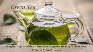 Health Benefits of Green tea include: improved Brain Function, Supports Healthy Weight Loss & Provides Protection Against Disease