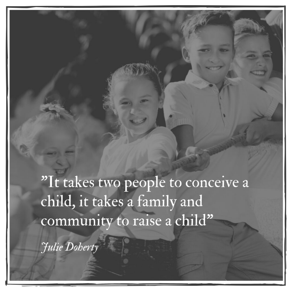 It takes two people to conceive a child, it takes a family and a community to Raise a Child.