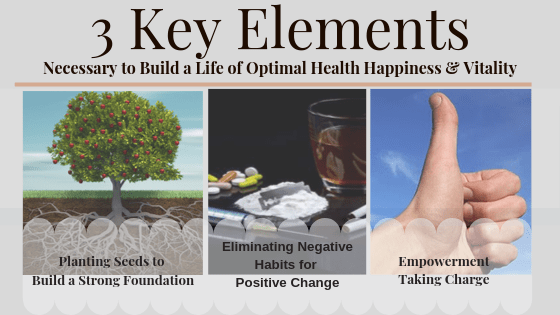 Three Key Elements to Achieving Optimal Health, Happiness & Vitality: Building a Strong Foundation: Eliminating Negative Habits for Positive Change: Empowerment Taking Charge