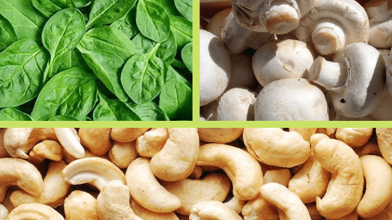 Cashews Spinach and Mushrooms Super Healthy Yummy Foods