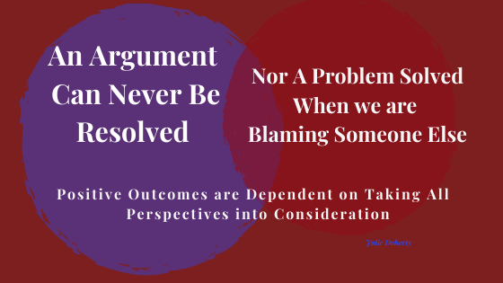 An Argument can Never be Resolved by Blaming Someone or Something Else.